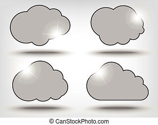 Cloud shapes collection with shadows