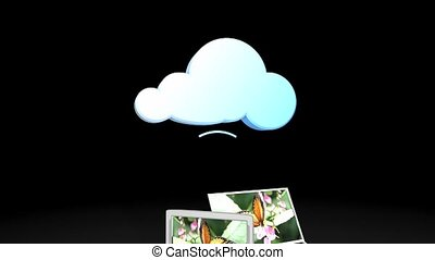 Cloud share - Cloud sharing concept animation. Matte...