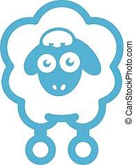 Flat illustration of blue sheep vector icon