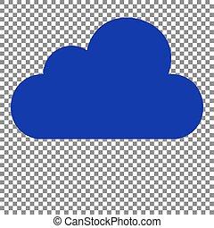 Cloud sign illustration. Blue icon on transparent background.
