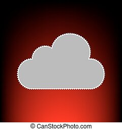 Cloud sign illustration. Postage stamp or old photo style on red-black gradient background.