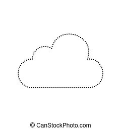 Cloud sign illustration. Vector. Black dotted icon on white background. Isolated.