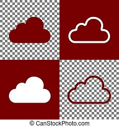 Cloud sign illustration. Vector. Bordo and white icons and line icons on chess board with transparent background.