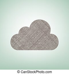 Cloud sign illustration. Vector. Brown flax icon on green background with light spot at the center.