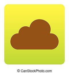 Cloud sign illustration. Vector. Brown icon at green-yellow gradient square with rounded corners on white background. Isolated.