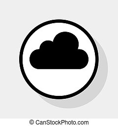 Cloud sign illustration. Vector. Flat black icon in white circle with shadow at gray background.