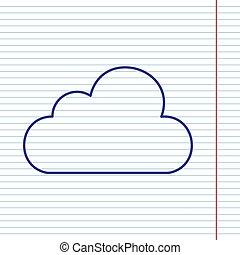 Cloud sign illustration. Vector. Navy line icon on notebook paper as background with red line for field.