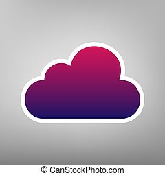 Cloud sign illustration. Vector. Purple gradient icon on white paper at gray background.