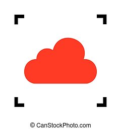Cloud sign illustration. Vector. Red icon inside black focus corners on white background. Isolated.