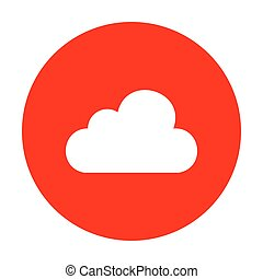 Cloud sign illustration. White icon on red circle.
