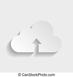 Cloud sign. Paper style icon