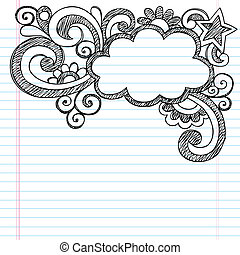 Cloud Sketchy Doodle Picture Frame