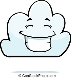 Cloud Smiling - A cartoon white cloud happy and smiling.