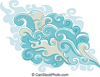Cloud Smoke - Illustration of Cloud of Smoke with sparkling...