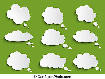 Illustration of paper clouds speech bubble collection on green background