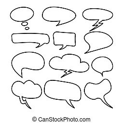 cloud speech bubble set