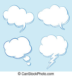 Cloud speech hand drawing illustration / can use for frame...