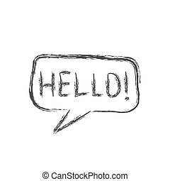 Cloud speech with the word HELLO!. Pencil sketch in the style of Doodle. Isolated on white background