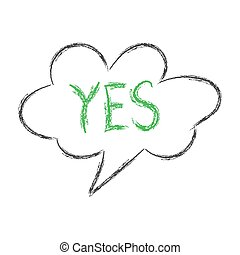Cloud speech with the word YES. Pencil sketch in the style of Doodle. Isolated on white background