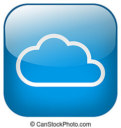 Cloud Square blue Button