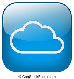 Cloud Square blue Button