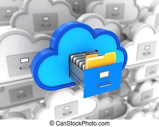 cloud storage choice - 3d illustration of cloud storages...