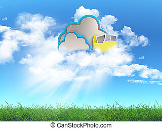 Cloud storage concept - 3D render of a grass landscape with ...