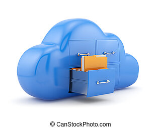 Cloud storage concept. Isolated on white background 3d ...