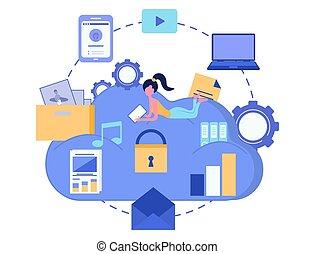 Cloud storage. Data security concept. Cloud computing. Computer device. Vector illustration
