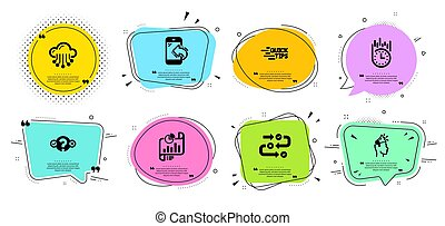 Cloud storage, Fast delivery and Quiz test icons set. Vector