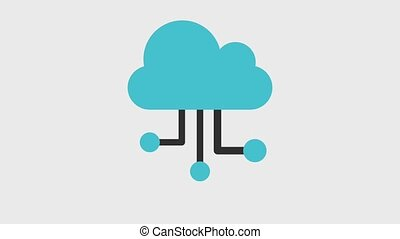 cloud storage icons animation design