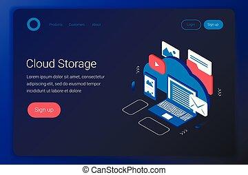 Cloud storage isometric concept. Laptop, smartphone, photo,...