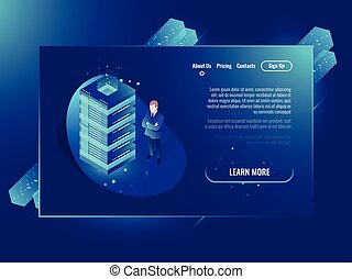 Cloud storage isometric vector concept, data center and database, server room rack, system administrator stay near server ultraviolet neon illustration