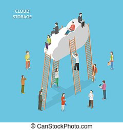 Cloud Storage Isometric Vector Concept. People are Walking...