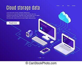 Cloud storage landing page. Synchronization clouds storages...