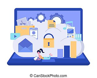 Cloud storage security. Data storage security concept. Data processing. Computer device. Vector illustration