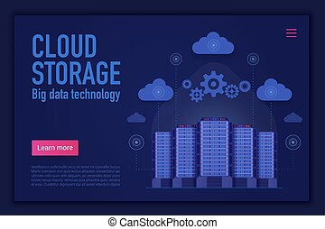 Cloud storage vector landing page template. Cloud management, computing, database and information storage website homepage concept. Computer server. Big data technology web banner layout.