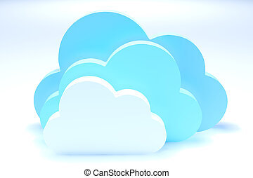 Cloud Storages - 3d render illustration of cloud symbols...