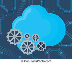 cloud storages design - cloud storage and gear wheels over...