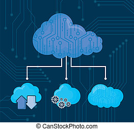 cloud storages design - clouds storages over blue...