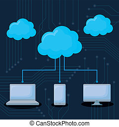 cloud storages design - technology devices and clouds...