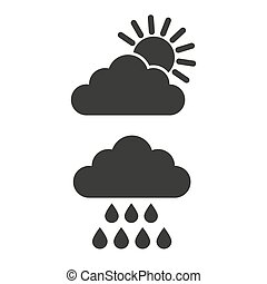 Cloud sun and rain icons on white background.