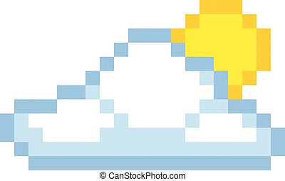Cloud sun pixel art cartoon retro game style