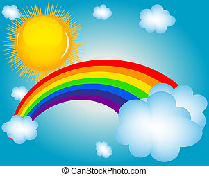 cloud, sun, rainbow vector illustration background
