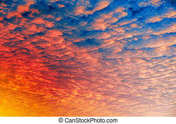 Cloud Sunset Background - A cloud sunset background, blue...
