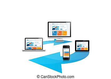 This image is a vector file representing a internet cloud media devices sync concept.