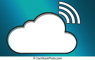 Cloud system technology concept with wireless sign