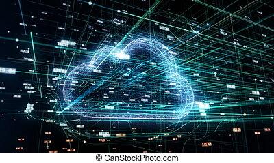 Cloud technology, abstract 3D information technology...