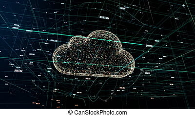 Cloud technology, abstract 3D information technology animation