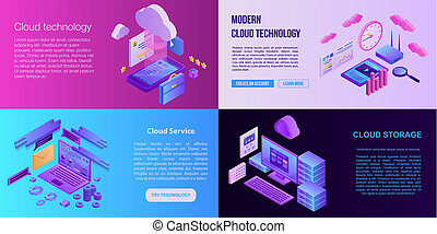 Cloud technology banner set, isometric style